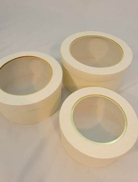 Set 3 cutii rotunde capac transparent (alb) (22)-5