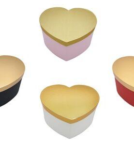 Cutii inima cu capac auriu 3-31