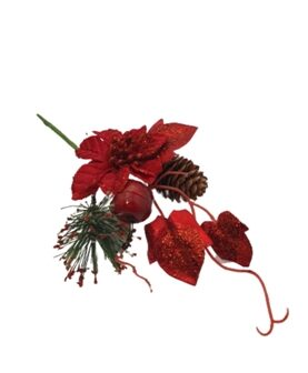 Pick Craciun flori rosii si con de brad (50)-11