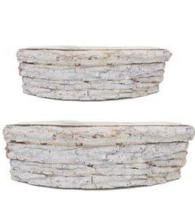 Set 2 cutii de lemn tip cosulet