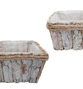 Set 2 cutii lemn pentru aranjamente florale